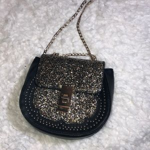 Black Crossbody Purse with Gold Sparkles ✨✨